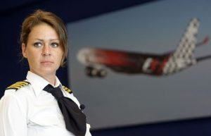 Sophie Blanchard is the first woman to captain a plane for Abu Dhabi's Etihad Airways. Photo: AFP Photo